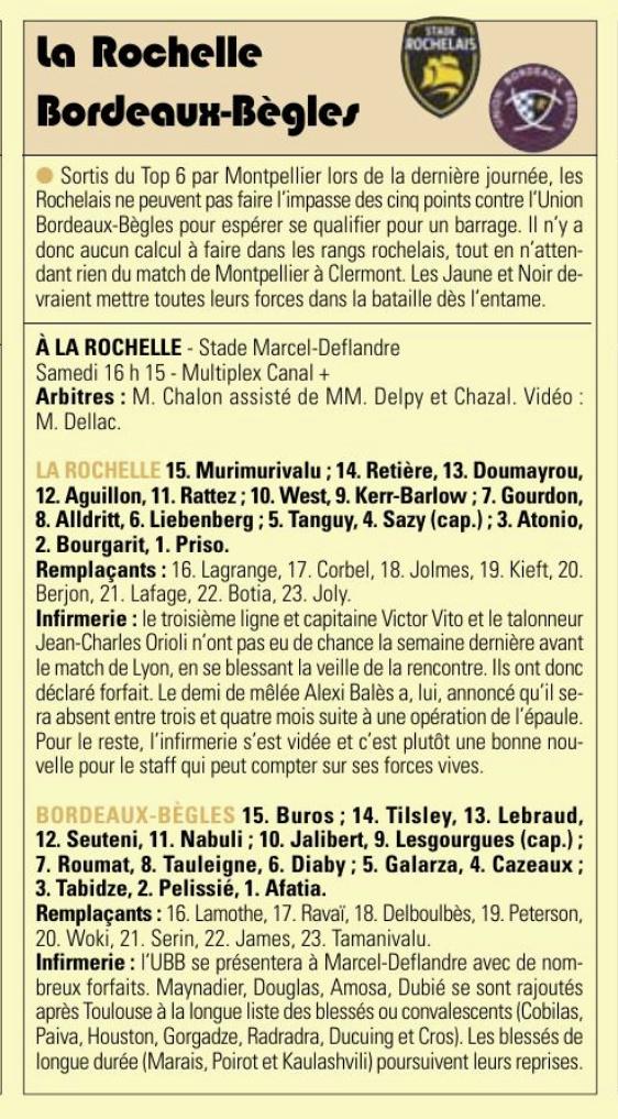 Top 14 - 26ème-journée : La Rochelle/UBB Captur38