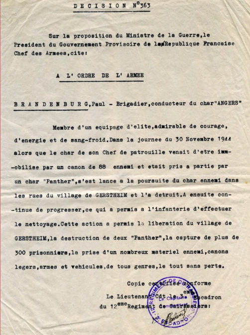 combat d'OBENHEIM / GERSTHEIM fin novembre 1944 - Page 2 Brande11