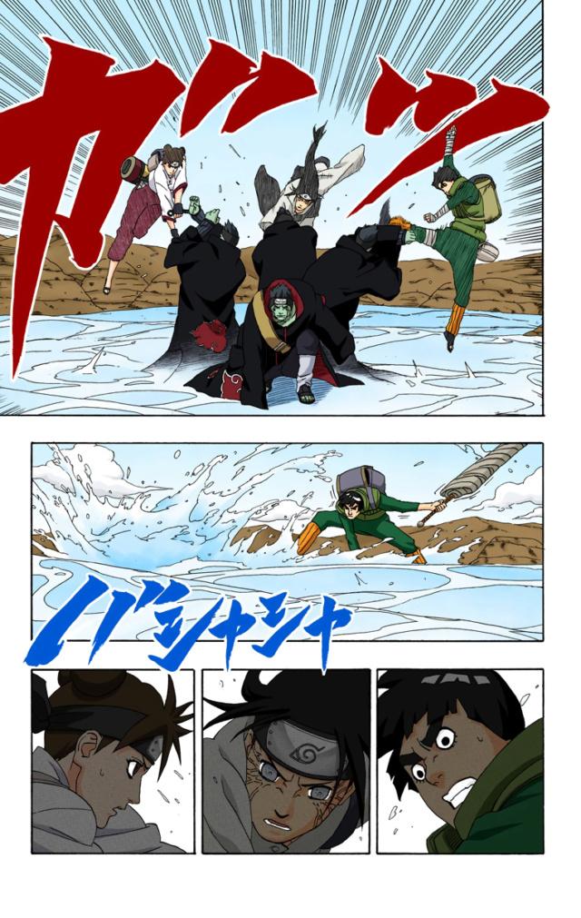 Darui,Hiashi e Shizune vs Kisame e Hidan Kisame16