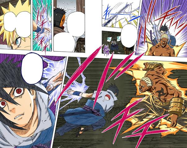 Hiruzen + Sannins vs Gaara,Kira A, Mei e Onoki Sasuke27