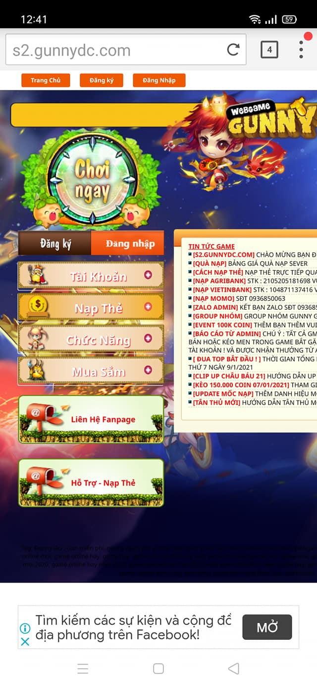 Cách chơi game bằng điện thoại .. GUNNYDC 13672111