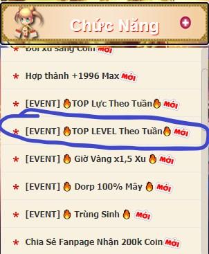 EVENT Đua TOP LEVEL theo Tuần GUNNYDC 360 17535410
