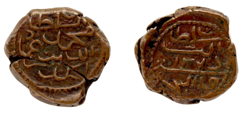 Maldivas, Muhammad `Imadaddin Iskandar, AE ½ larin (Kuda), Acuñado en Mahli AH1276. 773_2511