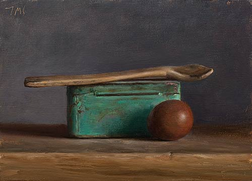 """""""Still Life with blue tin, egg and wooden spoon"""". Julian Merrow-Smith  10122310"""