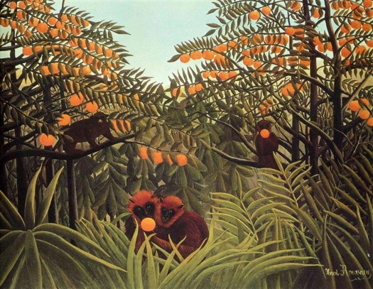 Simios en el huerto de naranjos. Félix Rousseau Rossea12