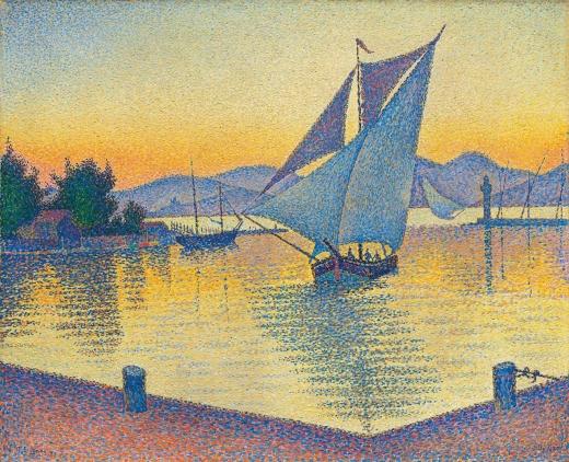 """""""Le Port au soleil couchant, Opus 236 (Saint-Tropez)"""" Paul Signac Signac10"""