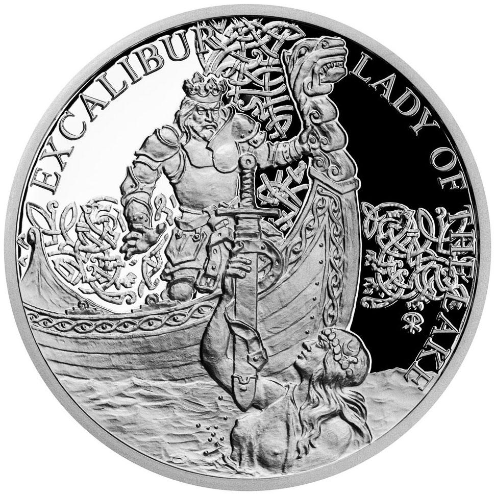The Legend Of King Arthur 1 Oz Silver Coin 1$ Niue 2021 Lady-o12
