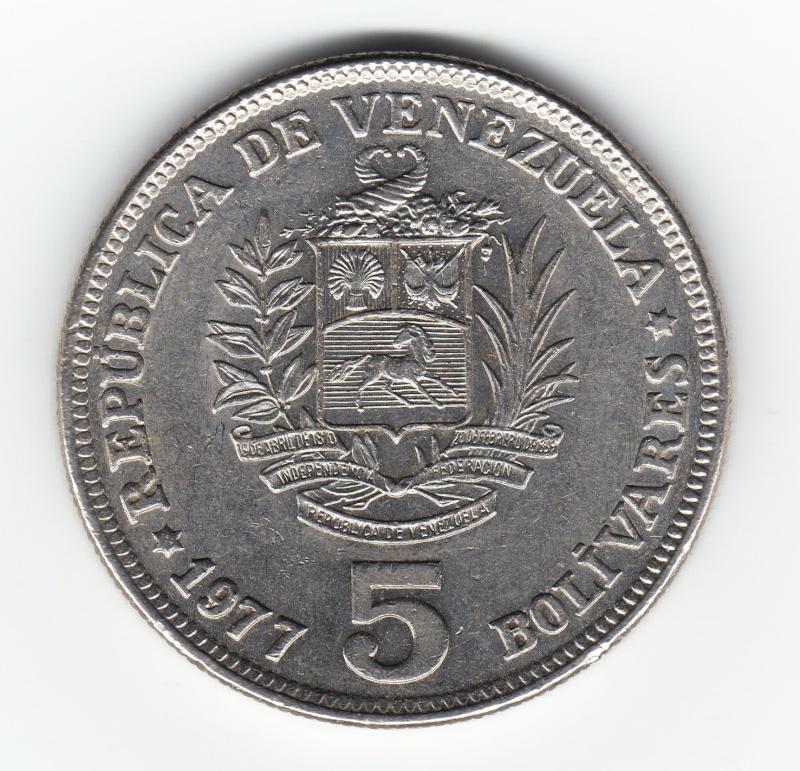 5 Bolivares. Venezuela. 1977. Madrid Img79510