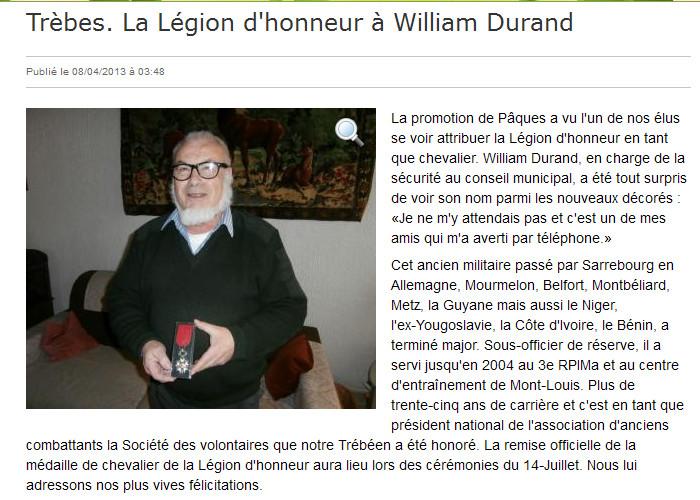 NOMINATION DANS L'ORDRE DE LA LEGION D'HONNEUR 2013-010