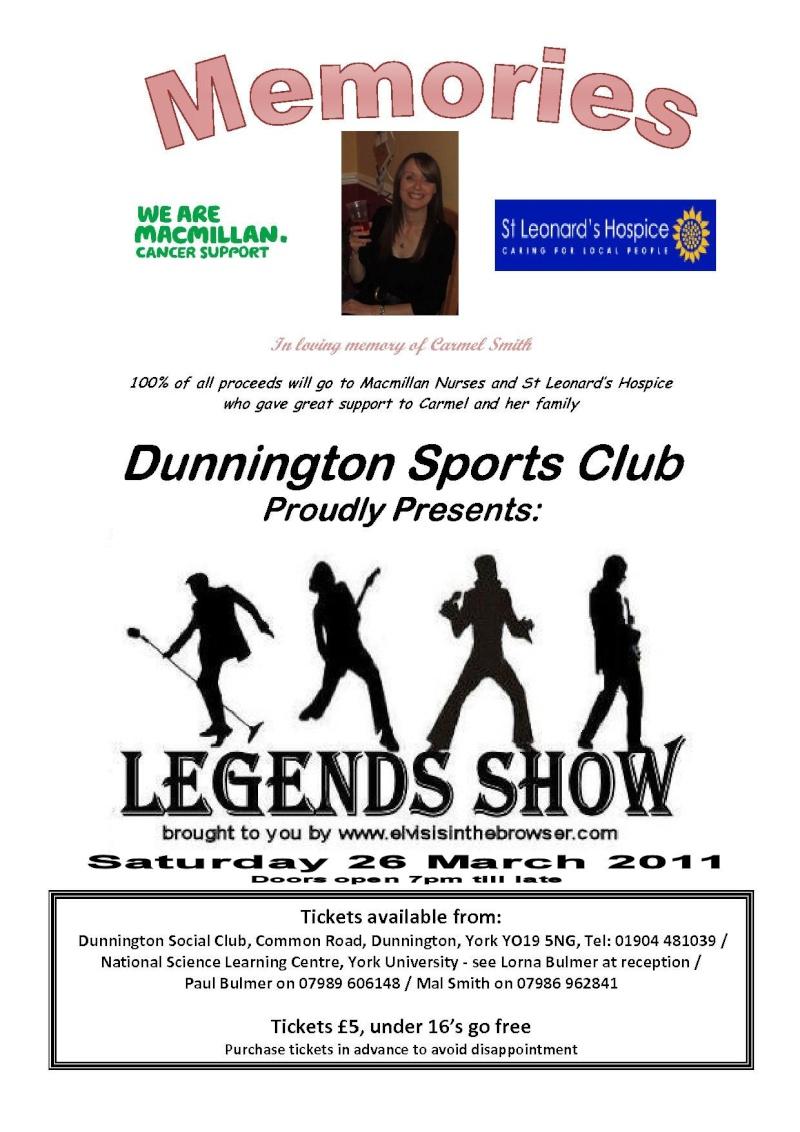 Legends Show in York on Sat 26 March - Tickets £5  Memori11