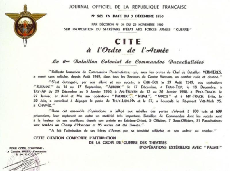 6ème Bataillon Colonial de Commandos Parachutistes (6ème BCCP) Citati10