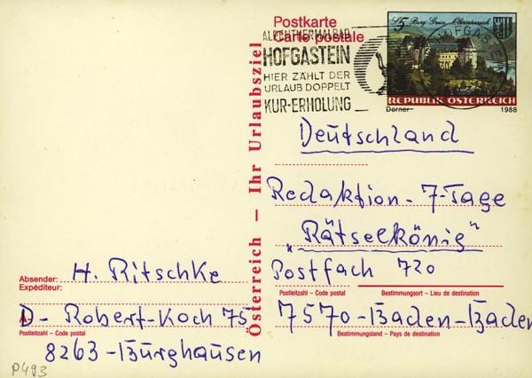 Postkarten ab 1986 bis 2005 bedarfsgelaufen P_49310
