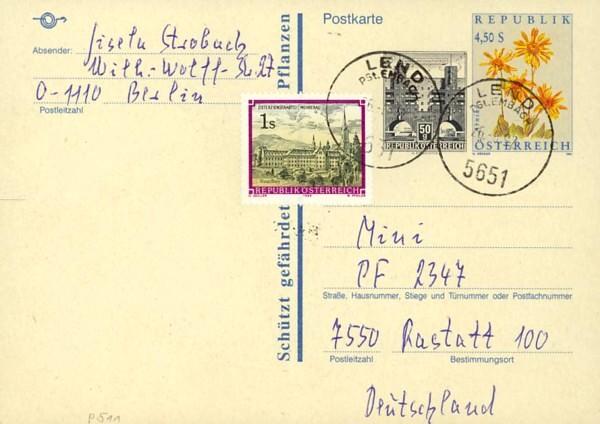 Postkarten ab 1986 bis 2005 bedarfsgelaufen P_51110