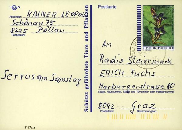 Postkarten ab 1986 bis 2005 bedarfsgelaufen P_54110