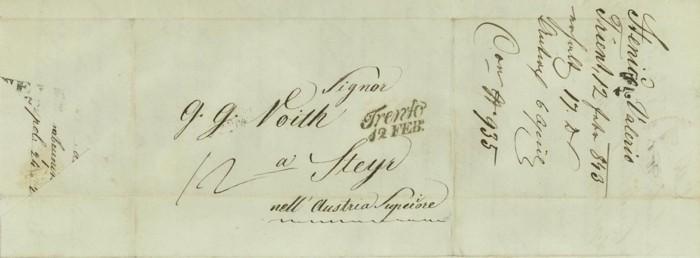 Vorphilatelie Österreich  -   Briefe aus der Vormarkenzeit Trento10