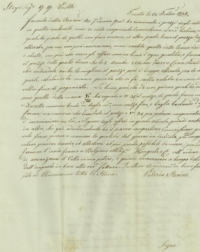 Vorphilatelie Österreich  -   Briefe aus der Vormarkenzeit Trento11