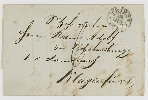 Vorphilatelie Österreich  -   Briefe aus der Vormarkenzeit Triest11