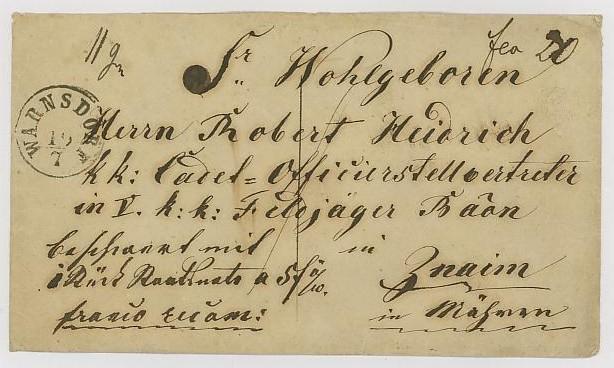 Vorphilatelie Österreich  -   Briefe aus der Vormarkenzeit Warnsd10