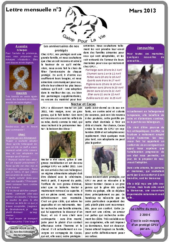 GPLV - Lettre mensuelle n°3 - Mars 2013 Lm310