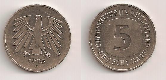 Alemania, 5 marcos, 1985. Moneda10