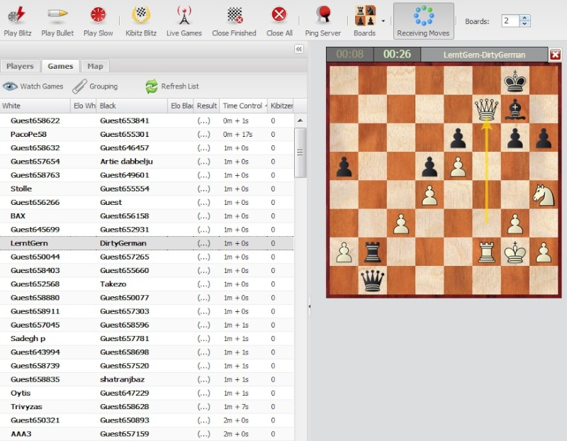 Playchess new online interface Fritzs10