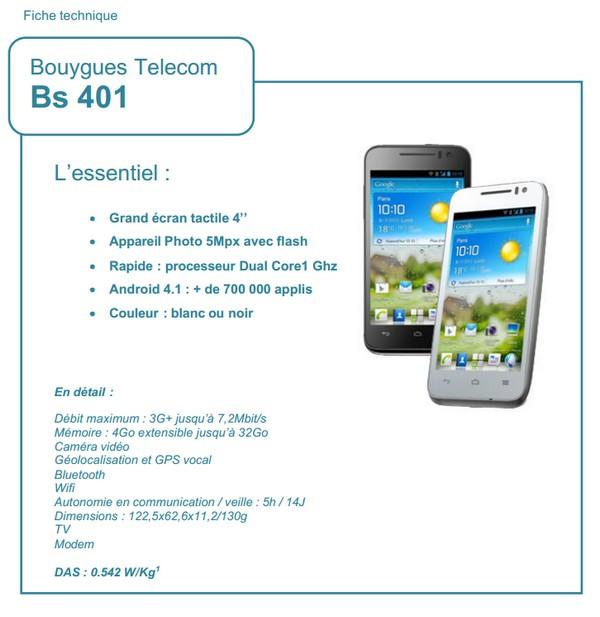 Bouygues Telecom lance  une gamme de téléphones mobiles à sa marque Bs40110