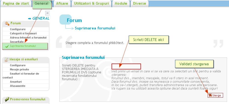 Stergerea unei categorii, a unui sub-forum sau a intregului forum 40055910