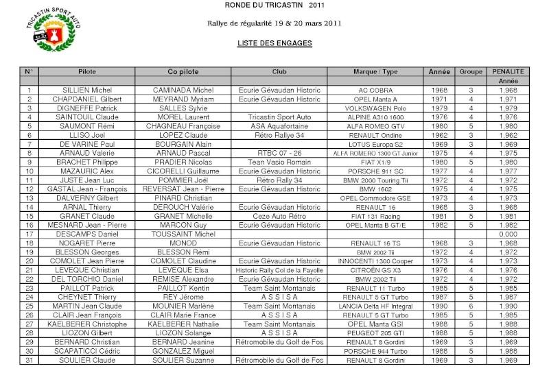 Liste provisoire des engagés 2011 Engage11
