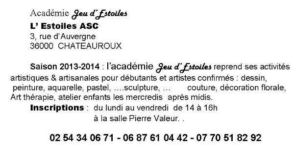 """CHATEAUROUX - Reprise des activités de l'académie  """"Jeu d'Estoiles"""" (2013/2014) 201410"""