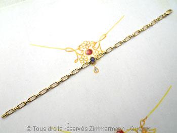 Bracelet or avec un saphir de 4 mm serti clos  Brsof013