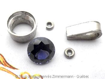 Pendentif ......Spinelle bleu 6,39 mm en serti clos Pepaf012