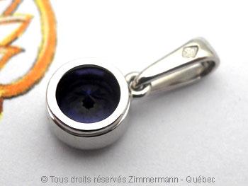 Pendentif ......Spinelle bleu 6,39 mm en serti clos Pepaf016