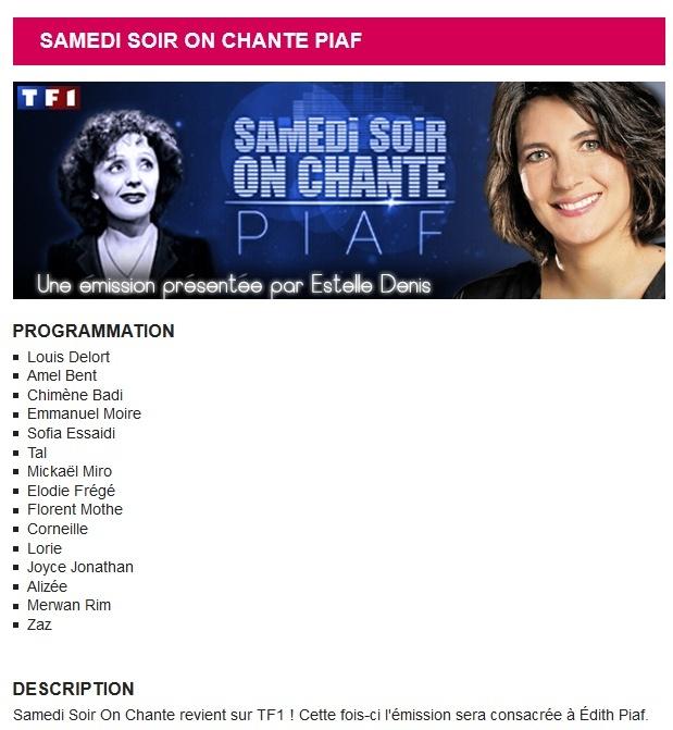 """""""Ce soir, on chante Piaf"""" sur TF1 (17 janvier 2014 à 20h50) Eloo10"""