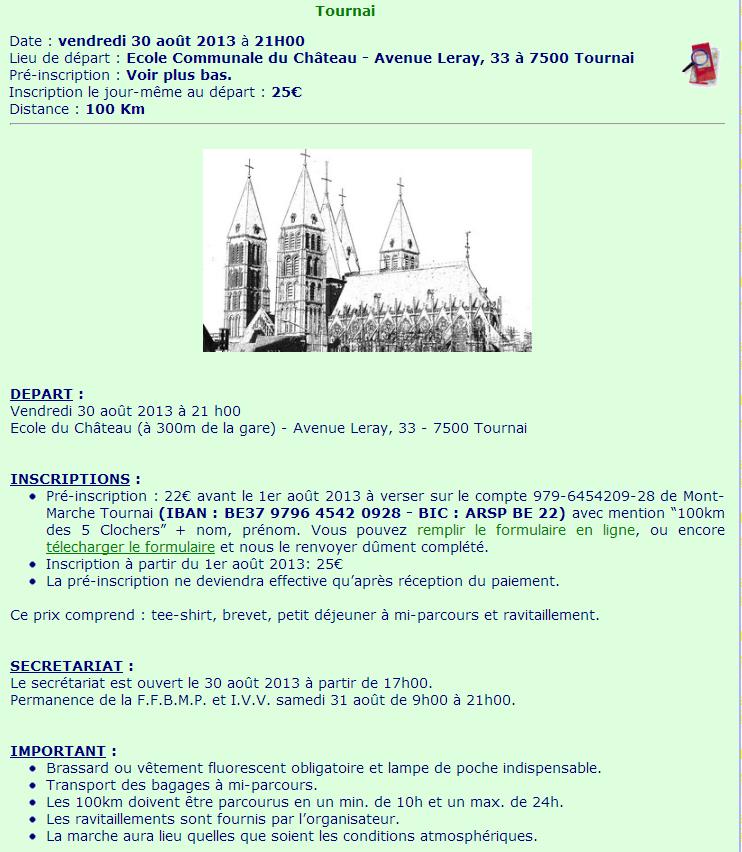 100 km des 5 clochers ; Tournai (B): 30-31 août 2013 5_cloc10