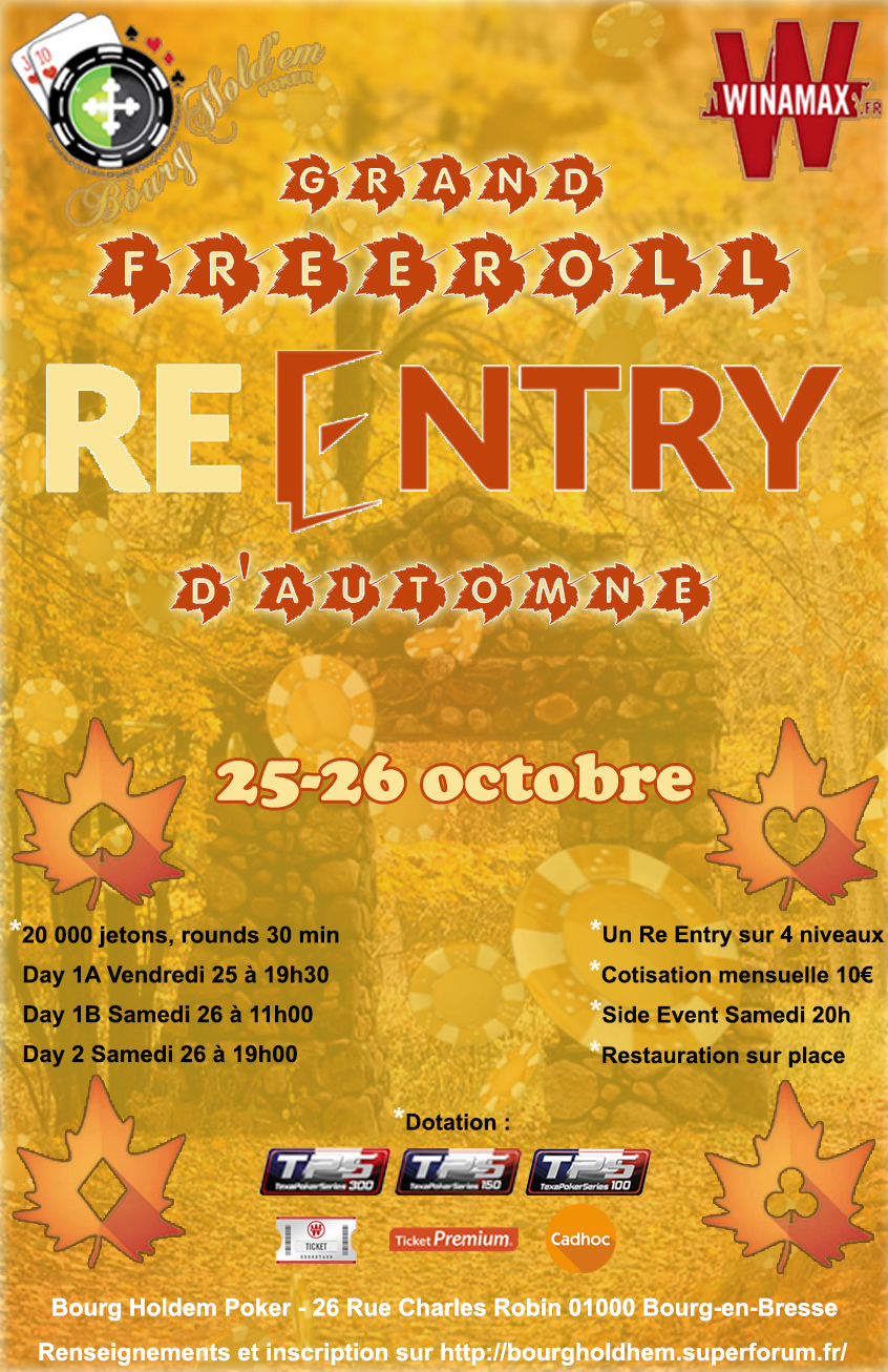 Inscriptions Freeroll (Re entry) d'Automne 2019 Good510