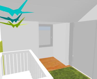 Petite chambre bébé garçon sous combles Topie310
