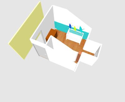 Petite chambre bébé garçon sous combles Topiet11