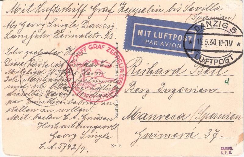 Südamerikafahrt 1930, Post nach Sevilla Scanne12