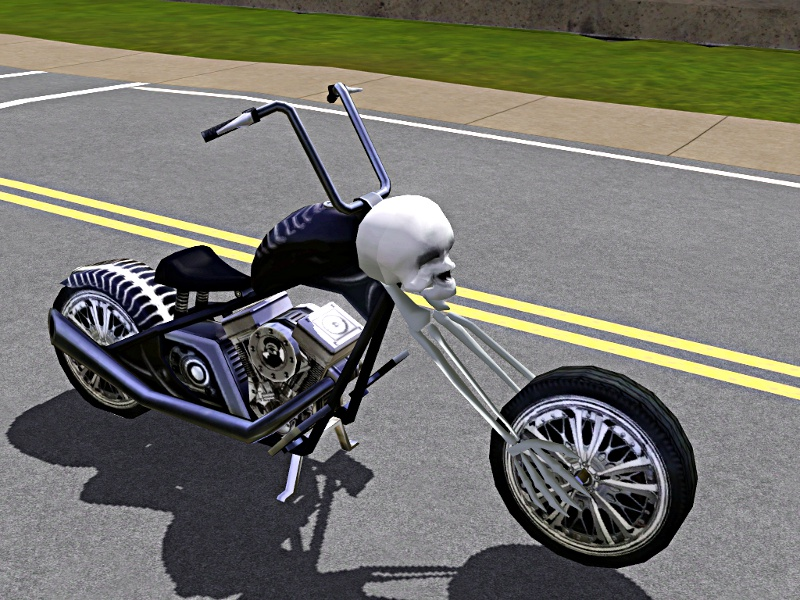 Skull / Skeleton Chopper Motorcycle: Now Pets Patch Compatible Mts_lh10