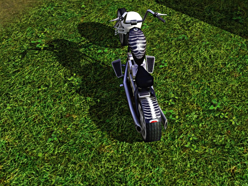 Skull / Skeleton Chopper Motorcycle: Now Pets Patch Compatible Mts_lh12