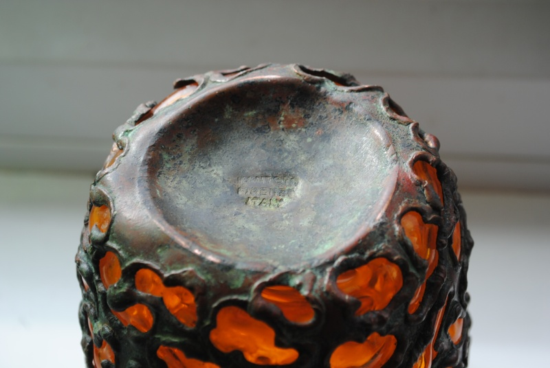 Fantoni Firenze Italy glass + metal vase Fanton13