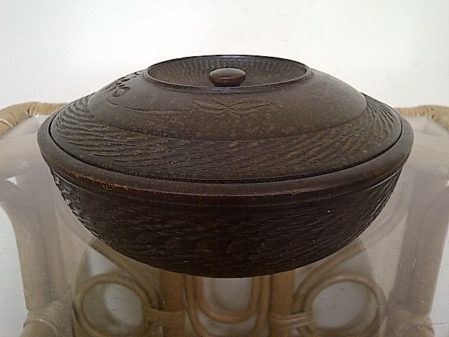 treen dish server with lid, where is this bowl with lid from? Img-2139