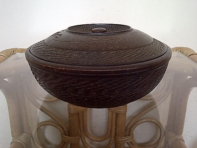 treen dish server with lid, where is this bowl with lid from? Img-2140
