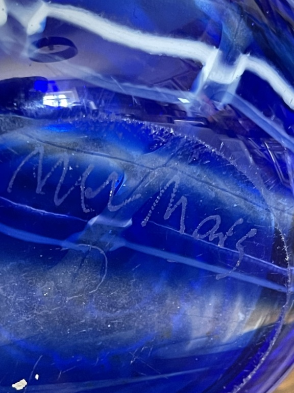 Blue tall glass vase signed in the base  2860a910