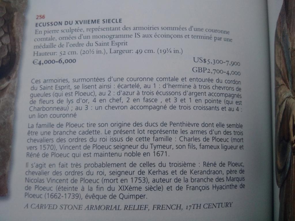 pierre sculptée avec armoiries familles Villeneuve Charbonneau DesNOS de la Gueriniere Img_2027