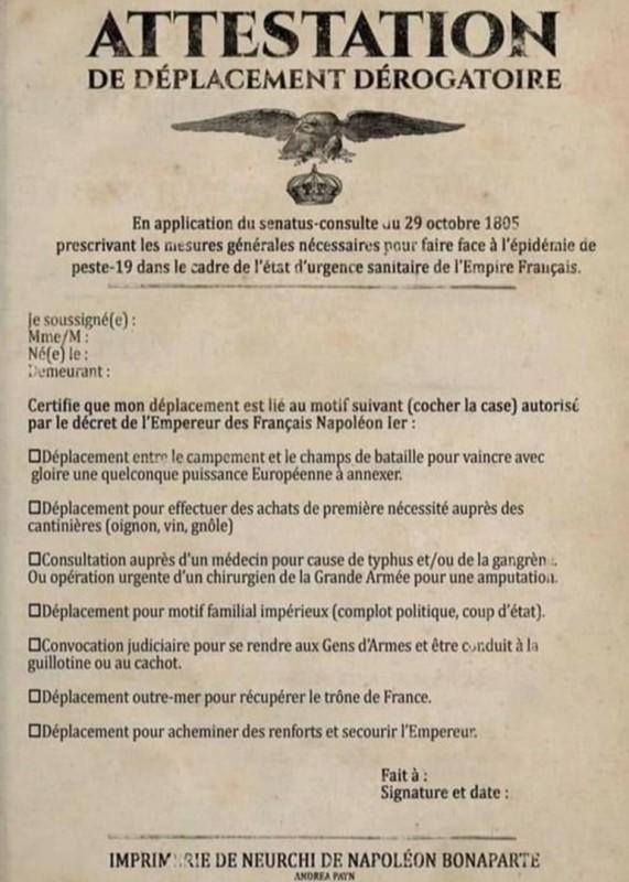 Attestation de déplacement dérogatoire du 29 octobre 1805  01203