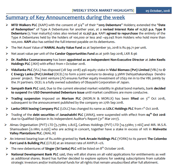 Summary of Key Announcements during the week  Oct05_10
