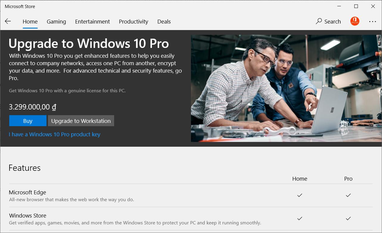 Các phiên bản cho Windows 10 10pro10