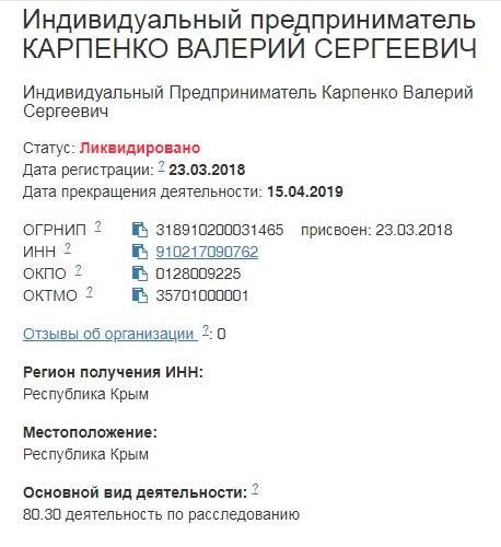 Частный детектив Карпенко Валерий Сергеевич ИП ЛИКВИДИРОВАНО A23
