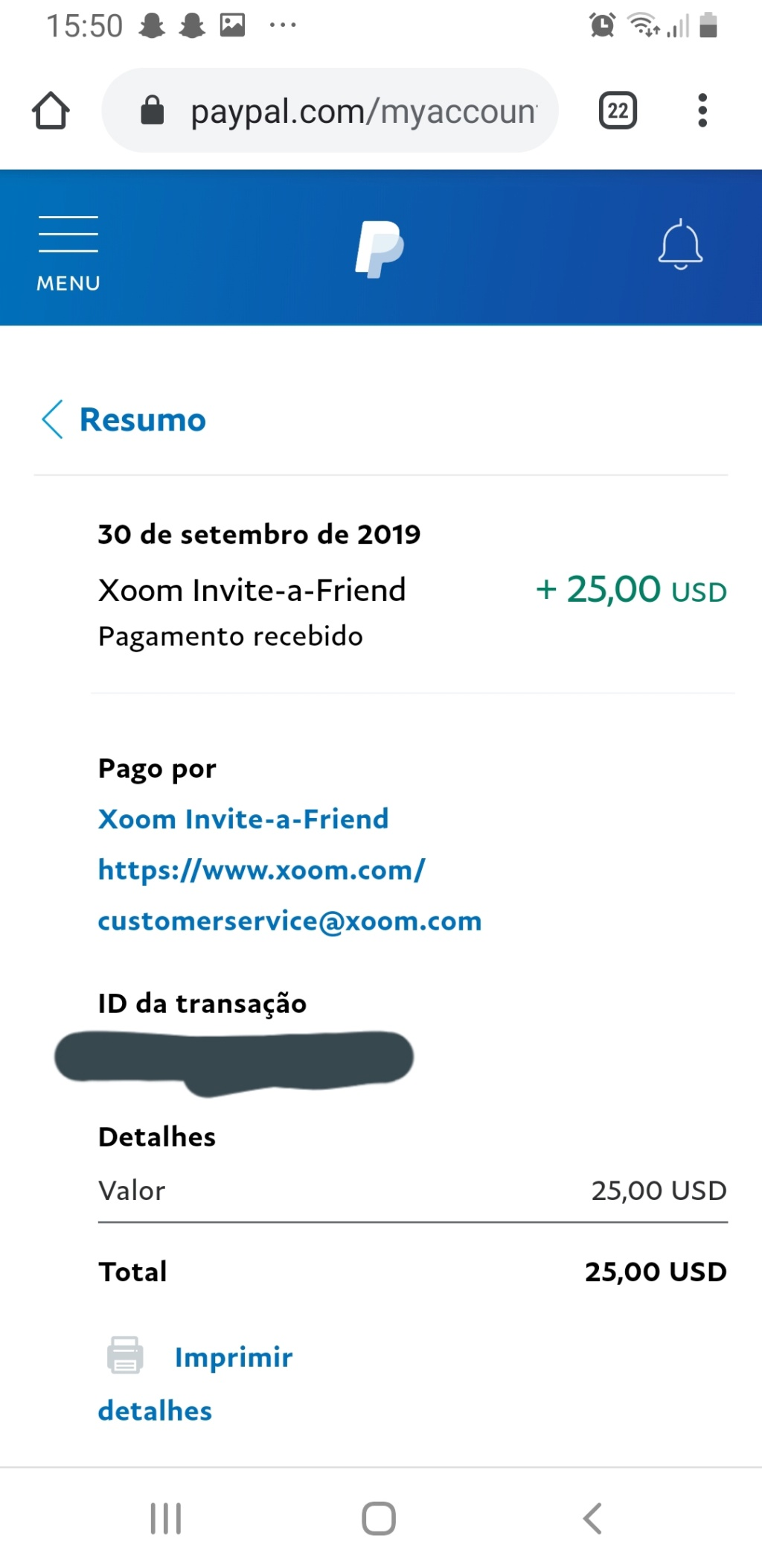 OPORTUNIDADE [Provado] - Ganha 25€ Paypal por registar na Xoom (empresaPaypal) - Página 2 20191011